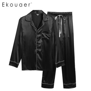 Ekouare Mens Long Sleeve Pajamas male sleepwear tops Homewear Man Casual shirt clothing Pajamas Turn Down Collar Nightwear