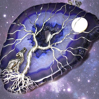 Purple Galaxy Tree of Life Pendant Wolf Howling at the Moon Agate Wire Wrapped Gemstone Druzy Crystal Yggdrasil Celtic  Family Tree Necklace