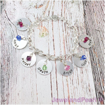 Personalized Mother's Bracelet, For Mom, Grandmother, Aunt, Sister, Family, jewelry, children's name, Birthstone Jewelry