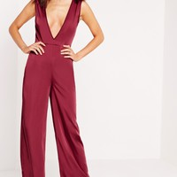Missguided - Silky Plunge Wide Leg Jumpsuit Burgundy