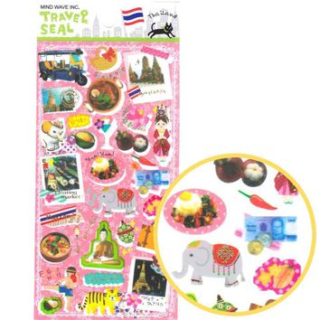 Thailand Themed Elephants Tigers Boxing Polaroid Shaped Travel Photo Sticker Seals
