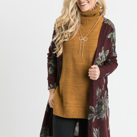 Lisa Burgundy Floral Cardigan