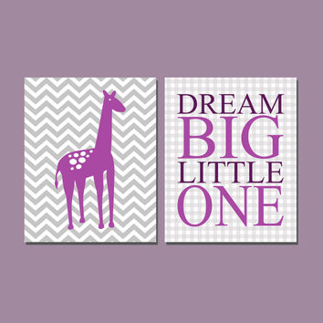 Nursery Print Set, Dream Big Little One, Chevron Giraffe Animal Zoo, Purple Gray White, Baby Girl 8x10 Digital Download Wall Art Decor Print