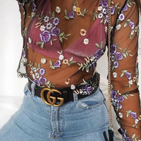 GUCCI Woman Fashion Smooth Buckle Belt Leather Belt / Flower Embroidery Long Sleeve Gauze Shirt Top
