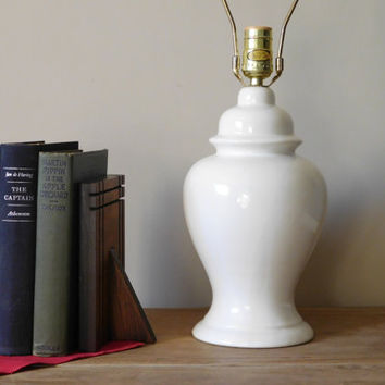 Mid Century Modern White Ceramic Lamp Underwriters Laboratories Portable Lamp