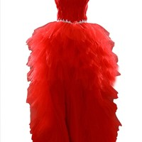 Dresstells Red Feather High Low Prom Dress Cocktail Dress for Womens