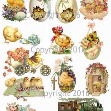 Vintage Easter Scrap Images Chicks and Eggs Printed Collage Sheet  #103