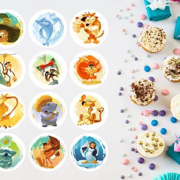 Cupcake Toppers. 12 Cure Animals Illustrations, Baby Shower, Sprinkle Decor, Printable Sweet