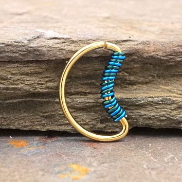 Crescent Moon Gold Daith Rook Cartilage Hoop