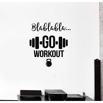 Vinyl Wall Decal Gym Motivating Quote Workout Fitness Club Stickers Mural (ig5435)