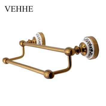 VEHHE European style vintage Copper plating bath towel holder bathroom fixture  bars towel racks towel bars accessories VE040