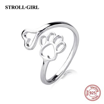 Strollgirl new arrival authentic 925 sterling silver lovely puppy dog footprint open ring diy design fashion jewelry for women