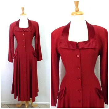 Vintage 1940s Dress Red Berry Rayon Button front Pocket Evening gown