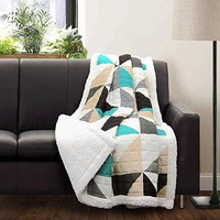 Ben and Jonah Triangles and Squares Sherpa Throw Blanket