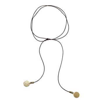 Brown Leather Fashion Choker with Plated Brass Disk Ends
