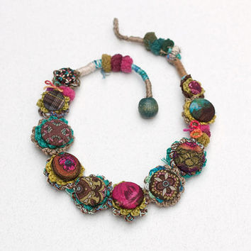 Textile rustic necklace, crochet jewelry with fabric buttons, brown turquoise fuchsia chartreuse, OOAK