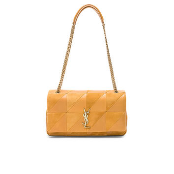 Saint Laurent Small Jamie Suede & Leather Patchwork Monogramme Jamie Chain Bag in Ochre | FWRD