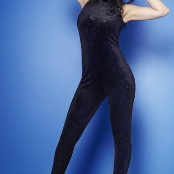 Charli Embossed Velvet High Neck Jumpsuit