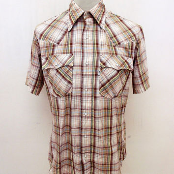 Retro Check Levi's Western Pop Snap Shirt M
