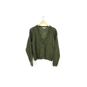 vtg 90s green mohair cardigan / kurt cobain 90s grunge / button up cardigan sweater  / medium