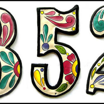 "1 House Number - 4 1/2"" Hand Painted Metal Address from Recycled Steel Drum - AD-100-4W"