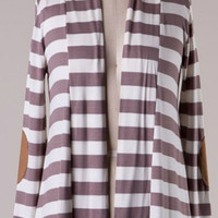 Knit Striped Cardigan with Elbow Patches - Mocha