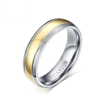 Gold and Silver Color Titanium Wedding Rings for Women