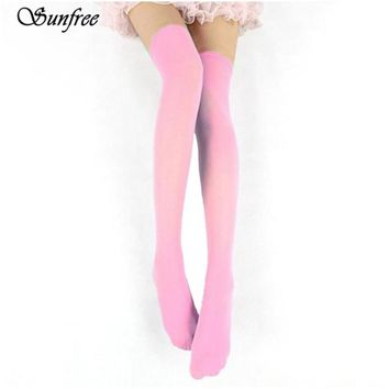 Sunfree 2017 New Hot Sale Candy Colors Trendy Sexy Sexy Velvet Silk Overknee Socks Brand New And High Quality Dec 28