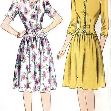 """1940s Junior Misses Two Piece Dress Vintage Sewing Pattern, Simplicity 4633 Bust 32"""""""