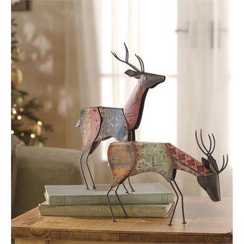 Set of Two Metal Deer Statues