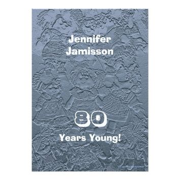 80th Birthday Party Silver Blue Dolls Invitations
