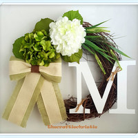 Personalized Grapevine Hydrangea Wreath Monogram Wreath St. Patrick's Day Wreath Spring Wreath Summer Wreath Mother's Day Gift  Housewarming