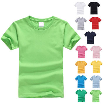 2017 popular short-sleeved boy T-shirt 100% cotton children T-shirt 13 colors wild solid color Summer boys and girls Clothes
