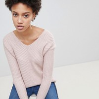 Stradivarius Rib V Neck Sweater at asos.com