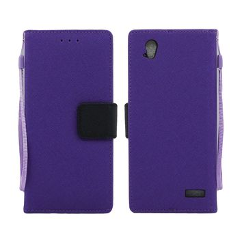 ZTE Warp Elite / N9518 Leather Wallet Pouch Case Cover Purple
