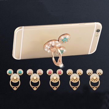 Deals Blast: Best Seller Mickey Ears Diamond Drop Resistance Metal Folding Stick-ring Buckle Cell Phone Holder Holder