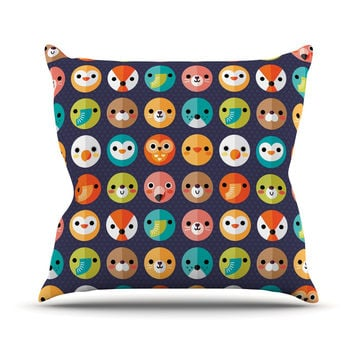 "Daisy Beatrice ""Smiley Faces Repeat"" Animal Pattern Outdoor Throw Pillow"