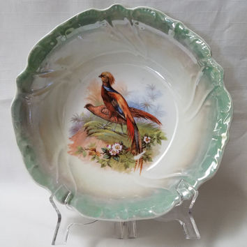 Hand Painted Pheasant Serving Dish, Bowl  (841)
