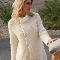 WHITE JACKET  HAND KNITTED  ANGORA MOHAIR YARN