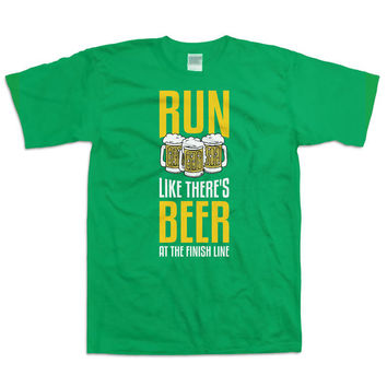 Funny Running Shirt Run Like There's Beer At The Finish Line Gifts For Runners Work Out Clothes Athletic Gifts Beer Lover Mens Tee WT-37A