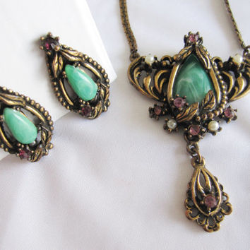 Vintage Art Nouveau Style Faux Jade Amethyst Seed Pearl Floral Rhinestone Antique Brass Necklace Screw Back Earrings Demi Parure