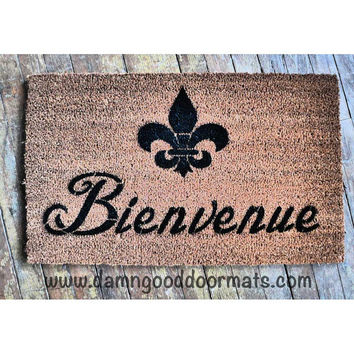 Bienvenue French Welcome FLUER DE LIS door mat