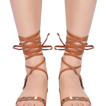 Brown Stud Detail Tie Up Gladiator Flat Sandals
