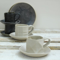 black and white textured espresso cups and saucers for coffee lovers