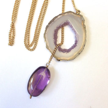 Agate Geode Lariat Necklace Ametrine Nugget Dangle Natural Gemstone Crystal Slice Necklace, Amethyst Necklace, Gift For Her - Renata
