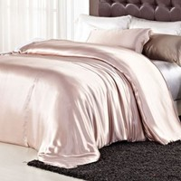 Orifashion Luxury Solid Color 100% Silk Charmeuse Duvet Cover, Elegant Pink Champagne (Model SDCJSL006), Queen Size