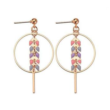 ES486 Leaf Drop Earrings Women Dangle Earring Triangle Fashion Jewelry Brincos oorbellen Simple Ear Jewelry Bohemian Bijoux