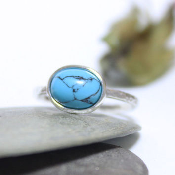Turquoise Rustic Silver Ring/ Simple Ring/ Blue Gemstone Ring/ Stacking Ring/ Hammered Ring