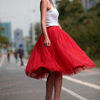 Tulle Skirt Tea length Tutu Skirt Knee length tulle tutu Princess Skirt Wedding Skirt in Red - NC455