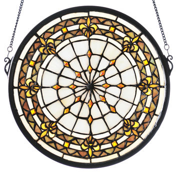 13 Inch Round Fleur-de-lis Medallion Stained Glass Window